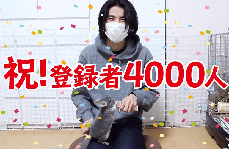 祝!YouTubeチャンネル登録者4000人突破!ありがとうございます!!
