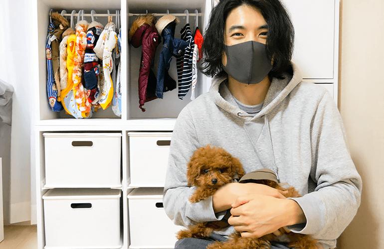 【簡単DIY】愛犬のために犬服用のハンガーラックと洋服収納を作ってみた!